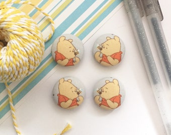 Pooh Magnets, Fabric Covered Magnet, Winnie the Pooh, Refrigerator Magnet, White Board Magnets, Pooh Decor, Kitchen Decor, Pooh Items