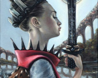Queen of Swords - original art by Tanya Bond - fantasy illustration oil painting regal costume sword crystal crown pop surrealism