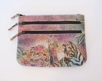 Hand Painted Leather Bag / Rainbow Colored Cosmetic Bag / Vintage The Animal Wallet / Small Clutch Purse / Made In India