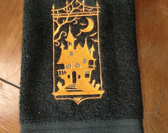 Embroidered Terry  Hand Towel - Halloween - Haunted House