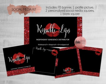 LipSense Facebook Cover-LipSense Instagram Profile-SeneGence Facebook Banner-Social Media Kit-Album Covers-Red-Glitter-Sequins-LS05