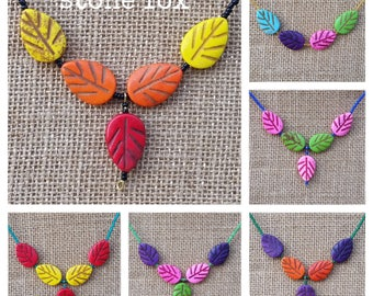 Howlite Forest Leaves Beaded Necklaces
