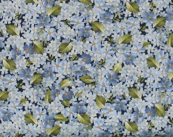 Packed Blue Flowers with Green Leaves Cotton Quilt Fabric for Sale from Roses on the Vine Collection by Marti Michell, Yardage, MAS8434-B