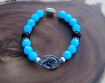 Carolina Panthers Charm Bracelet, Football Bracelet, Team Spirit