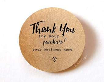 60 Thank You for your order stickers Thank You for your purchase stickers Custom stickers round stickers packaging 1.5 inch