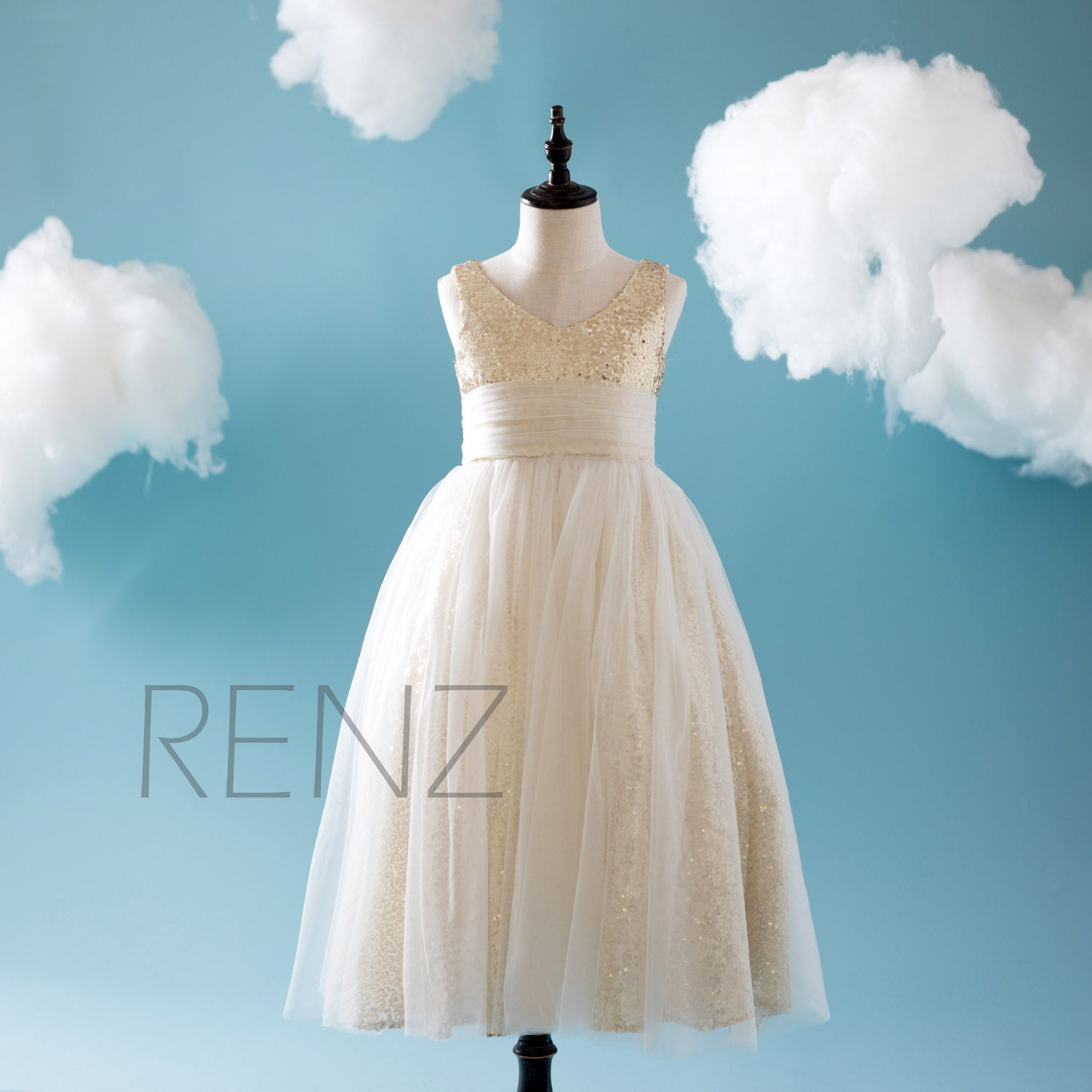 Off White Soft Tulle Junior Bridesmaid Dress Long Light Gold