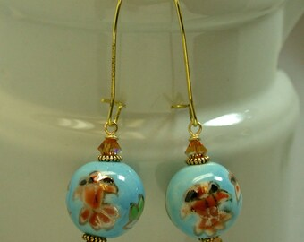 Vintage Chinese Koi Fish Aqua Blue Porcelain Bead Dangle Drop Earrings, Swarovski Topaz Crystal, Gold Kidney Ear Wires