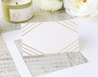 Printable Gold Foil Place Cards, Art Deco, Perforated Card Stock for Name & Escort Cards | REAL FOIL | Place Card Shape No. 11 | 5 sheets