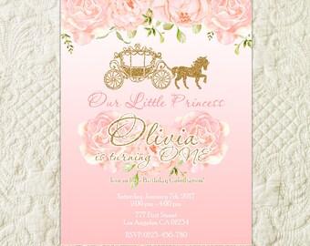 Princess Birthday Invitation, Pink And Gold Princess Invitation, Princess Birthday Party Invitation, Princess Carriage, Royal Celebration