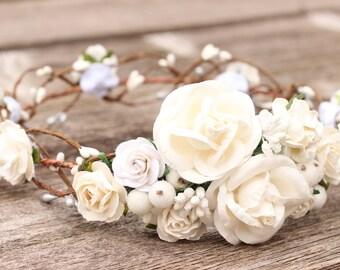 Bridal Flower Crown Wedding, White Flower Crown, Wedding Floral Crown, White Floral Crown, Headdress Ivory, Wedding Rose Crown, Boho Crown