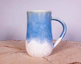 Pottery Coffee Mug in Blue and White