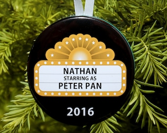 Actor Actress Performer Christmas Ornament - Theater Marque - Customized - C174