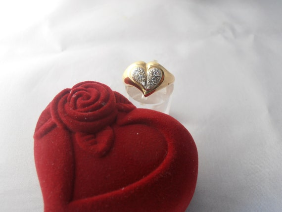 18k Bi-color Heart with Diamonds Ring - Size 6 - Gift for Her - Anniversary - Wedding - Valentine's Day