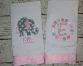 BEST SELLER - Monogrammed Burp Cloth Set for Baby Girls  - Pink & Grey Elephant - Embroidered Personalized Gift Set