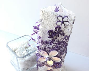 Purple and White Luminary for Wedding Centerpiece - Garden Luminary - Vellum and Paper Wedding Table Decor - Bridal Shower Table Decor
