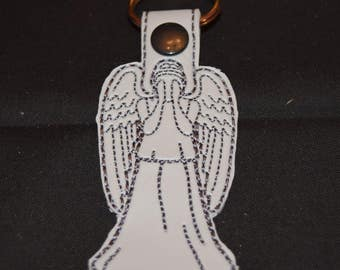 Dr. Who  Inspired Weeping Angel Keyfob Bag tag Zipper pull. Don't Blink