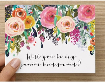 Will you be my junior bridesmaid card / wedding stationary / junior bridesmaid / will you be my bridesmaid hand lettering junior bridesmaid