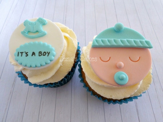 Baby Boy Shower Fondant Cupcake Edible Toppers Baby Shower