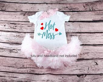Baby Girls Clothes, Hot Mess, Little Hot Mess Bodysuit, New Baby, Baby Shower, baby bodysuit, baby girl gift, glitter shirt, new baby gift