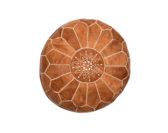 Marrakesh Leather Moroccan Pouffe – Tan