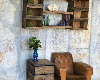 Double Crate Side Table | Reclaimed Barn Wood & Vintage Crates | Accent Table