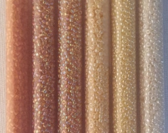 Japanese Seed Beads,  60 Grams, size 11,  11-001M, 11-342, 11-343, 11-531, 11-9251, 11-9516