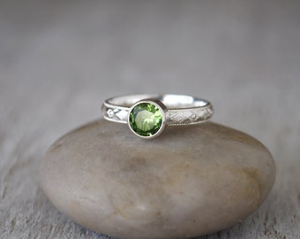 Peridot Ring in Sterling Silver - Handcrafted Artisan Silver Ring - Sterling Silver Peridot Gemstone Ring - August Birthstone Ring