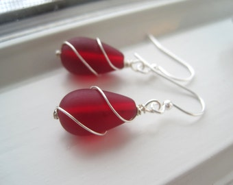 Red Glass Earrings -  Wire Wrapped Earrings - Cultured Sea Glass Jewelry - Bridesmaid Sets - Red Bridesmaid Jewelry - Sparkle and Swirl