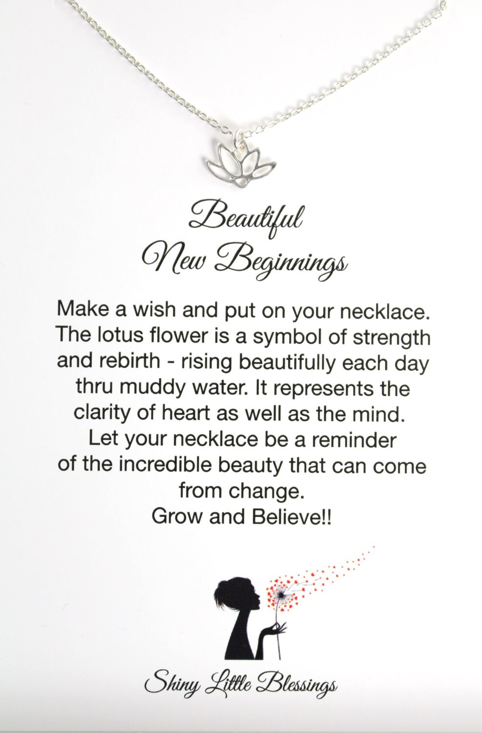 Lotus necklace and card encouragement gift for new zoom buycottarizona Choice Image