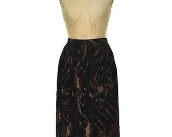 vintage 1980's metallic phoenix skirt / Evan Picone / black bronze / metallic lurex chiffon / women's vintage skirt / tag size 10