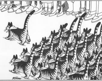 Kliban Cat Original Vintage Art Print Follow Me Cat