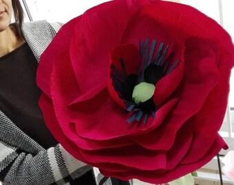 30% off Dark red giant poppy Wedding paper flower bouquet Large paper flower poppy Bridal bouquet giant poppy Wedding decor Jumbo flower