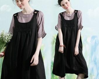 Linen Pinafore Dress, Linen Apron Dress, Maxi Linen Dress, Linen Halter Dress, Black Linen Dress, Black suspended dress