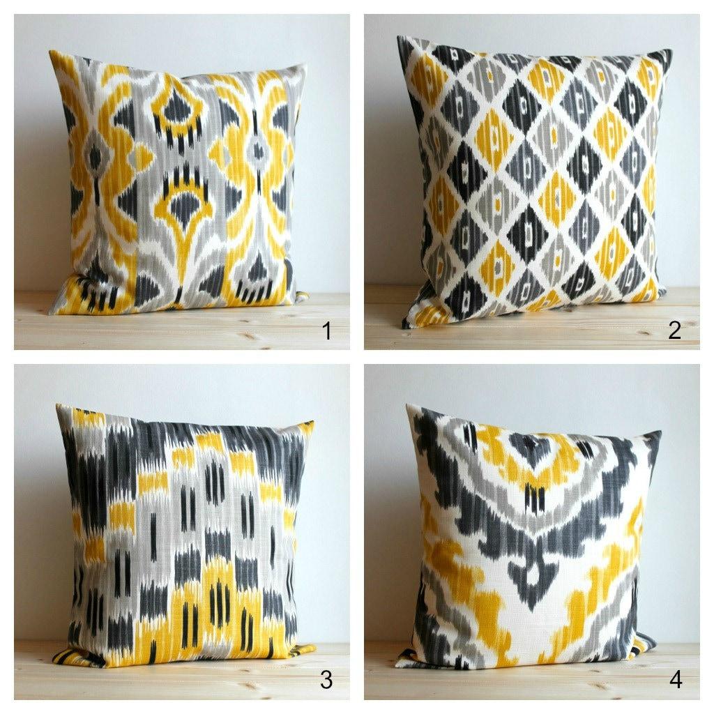 Yellow and Grey Ikat Pillow Cover Ikat Pillows Cushion