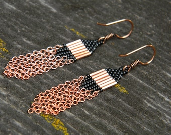 Copper and Black Seed Bead with Chain Earrings