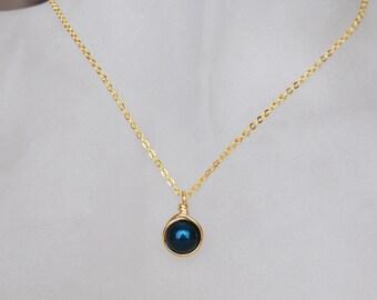 Light Navy Blue Necklace , Bridesmaid Necklace , Navy Pearl Necklace , Swarovski Pearl Necklace
