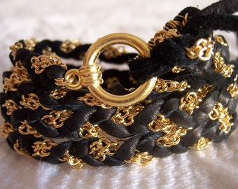 Rich Black SOFTEST DEER SKIN deerskin Leather, Suede on opposite side, Super Soft Wrap Couture Bracelet, Gold Chain, Cuff, Anklet, Fits all wrist sizes, Braided