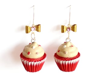Red Velvet Cupcake Earrings, Bakeshop Collection, Pinup Earrings, Kitschy Cakes Earrings, Birthday Cake, Rockabilly Jewelry