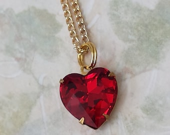 Ruby Red Crystal Heart Necklace - Heart Pendant Necklace - Crystal Heart Necklace - Red Heart Pendant Necklace - Swarovski Crystal Necklace