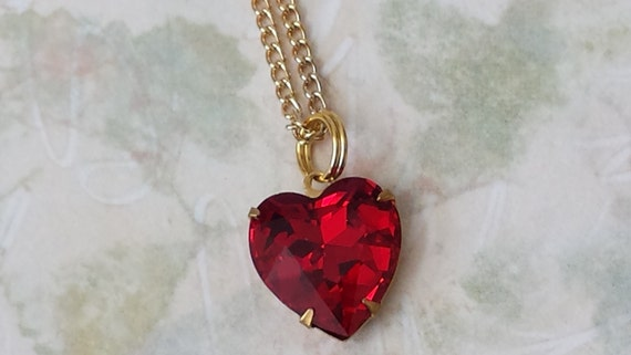 Ruby red crystal heart necklace heart pendant necklace like this item aloadofball Image collections