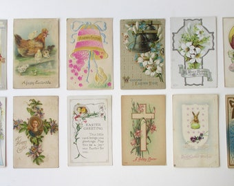 A dozen antique Easter postcards. Vintage holiday gifts and decorations. Easter Bunny / Easter Sunday / Christian Inspirational / Spring!