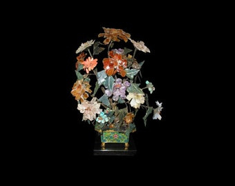 Antique Chinese 20th C. Hardstone Flowers Cloisonne Pot Lamp