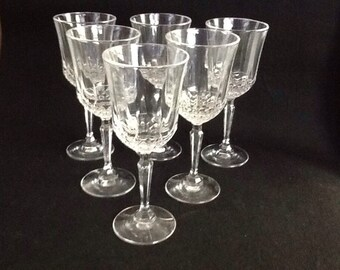 Vintage Cut Crystal Tall Stem Water Glasses Set Of 6 /Water Goblets/Wine Glasses