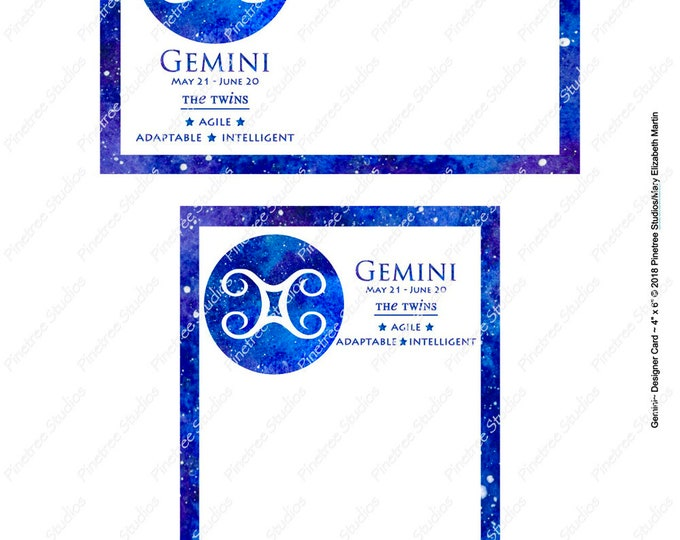 "Gemini ~ Zodiac Sign Postcards (4"" x 6"" Landscape and Portrait) Digital Download ~ Printable / Journal Label / Card / E-Card / Ephemera"