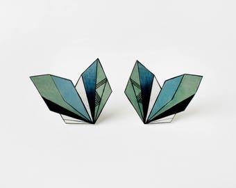 Geometric Stud Earrings, unique colorful post earrings, art jewelry, wearable art, blue and ash green earrings