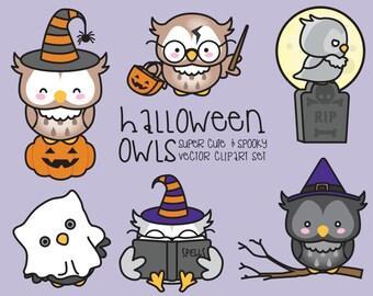 Premium Vector Clipart - Kawaii Halloween Owls - Cute Halloween Owls Clipart Set - High Quality Vectors - Kawaii Clipart
