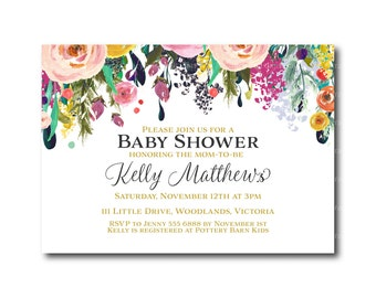 Baby Shower Invitation | Floral Baby Shower invitation | Baby Shower Invite | Printable | Digital Invitation 0490