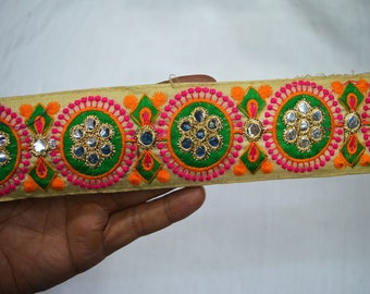 Sewing Crafting Trim By 2 Yard Trimmings Indian Laces Embroidered Trim Decorative Sari Border fabric trims and embellishments