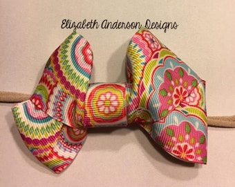 Flower Multi Color Bow Nylon Headband (baby or toddler)