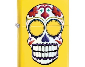 Day Of The Dead Skull Yellow  Zippo Lighter